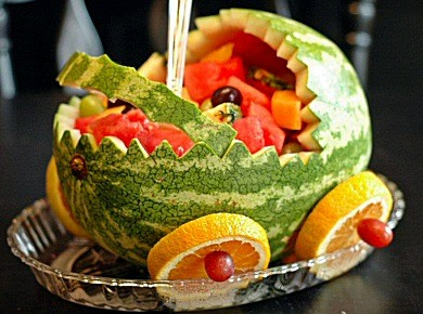 Watermelon Baby Carriage Fruit TrayThis is a great centerpiece for a baby shower!